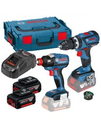 Bosch GSB 18V-60 + GDX 18V-EC 18v Cordless Twinkit, 2 x 5AH Batteries, Charger and Case