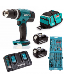 Makita DHP453SFE 18V Combi Drill, 2 x 5.0 Ah Batteries, 2 Port Fast Charger and Canvas Bag with FREE 216 piece accessory set