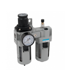 "Air Regulator And Lubricator, With Mounting Bracket And Gauge, 1.5 To 8.5 Bar, 1/4"" BSPP"