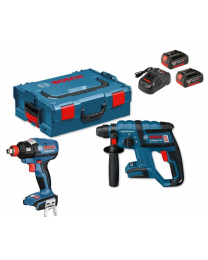 Bosch GDX 18V-EC + GBH 18V-20 Twinkit With 2 x 5AH Batteries, Charger and Case