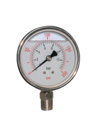 Glycerine Pressure Gauge, With 63mm Stainless Steel Case and Bottom Connection