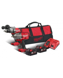 "Milwaukee M18 Thunderbolt Twin Kit M18ONEFHIWF12 1/2"" Impact Wrench, M18ONEPD Combi Drill 2 x 5Ah Batteries, Charger & Carry Bag"