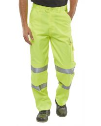 B-Seen Yellow Hi-Vis Poly Cotton Trousers
