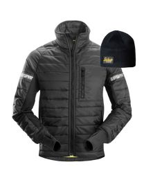 Snickers 8101 AllroundWork, 37.5 Insulator Jacket Black Medium with FREE Beanie