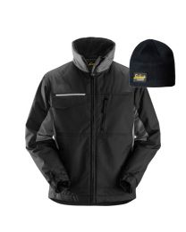 Snickers 1128 Craftsmen's Winter Jacket, Rip-stop Black/Grey Medium With FREE Beanie