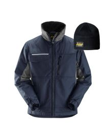 Snickers 1128 Craftsmen's Winter Jacket, Rip-stop Navy Large With FREE Beanie